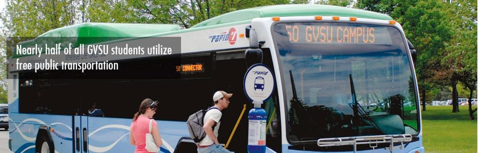 Students getting on 50 bus: Nearly half of all GVSU students utilize free public transportation